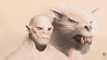 Azog et son warg blanc
