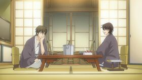 Yuu and Chiaki dinner at the hot springs ep10