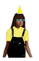 Carter Mason Long Brown Hair Half Up Half Down with Fringe+Bangs wearing a Yellow Santa Claus Hat, and Cyan Glasses wearing a Yellow Polo Shirt with a Black Overall and looks like the Pittsburgh Penguins and a Minion