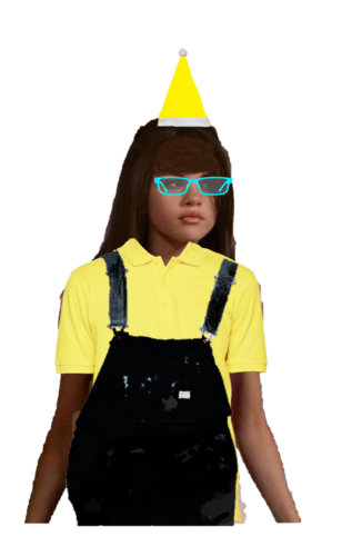 Yellow Santa Claus Hat, Polo Shirt with a Black Overall Denim and Cyan Glasses