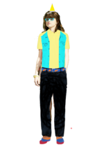 Alex Russo Long Brown Hair Half Up Half Down Fringe+Bangs wearing a Yellow Santa Claus Hat+Cyan Glasses+Yellow Polo Shirt with a Cyan Vest+Black Jeans with a Colorful Belt+Colorful Shoes+looks like the Pittsburgh Penguins