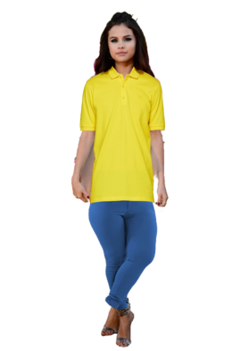 Selena Gomez Long Brown Hair with a Clip wearing a Yellow Polo Shirt