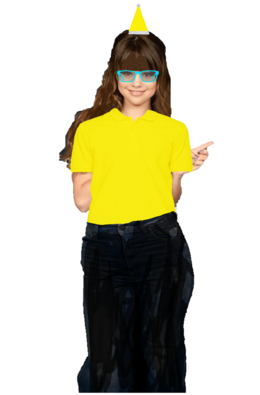 Selena Gomez Long Curly Brown Hair with a Fringe+Bangs Half Up Half Down wearing a Yellow Santa Claus Hat, and Cyan Glasses wearing a Yellow Polo Shirt with Black Jeans and looks like the Pittsburgh Penguins