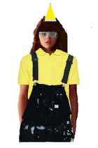 Mary Santiago Long Brown Hair with a Fringe+Bangs wearing a Yellow Santa Claus Hat, and Cyan Glasses wearing a Yellow Polo Shirt with a Black Overall Denim and looks like the Pittsburgh Penguins and a Minion