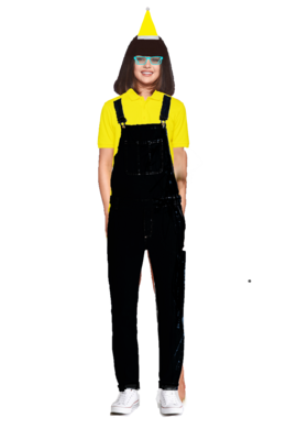 Selena Gomez Long Brown Hair with a Fringe+Bangs wearing a Yellow Santa Claus Hat, and Cyan Glasses wearing a Yellow Polo Shirt with a Black Overall Denim Jeans and looks like the Pittsburgh Penguins and a Minion