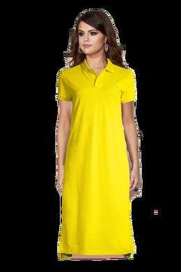 Selena Gomez Long Brown Hair wearing a Yellow Polo Dress