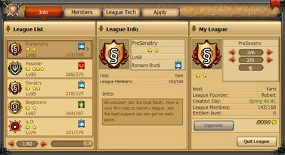 League tab join