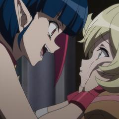 Millaarc squeeze Elfnein's cheek in <a href=