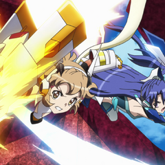 Hibiki and Tsubasa attacking Noise