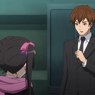 Shinji holding Shirabe's <a href=
