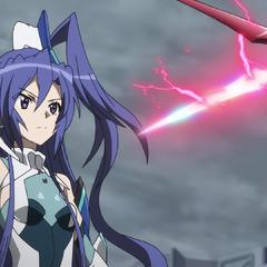 Tsubasa facing her Relic in its Ignite Module form.