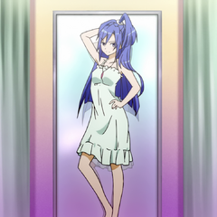 Tsubasa trying on clothes