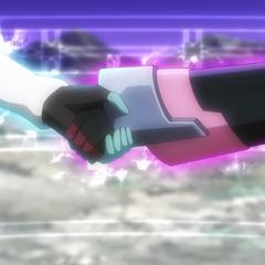 Tsubasa holding Shirabe her hand
