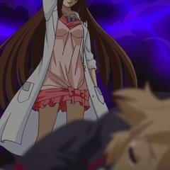 Ryoko protecting the unconscious Hibiki.