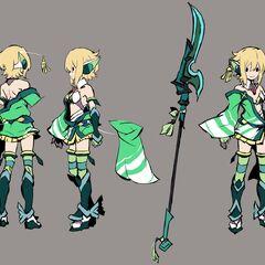 Concept art of Kirika's traditional gear