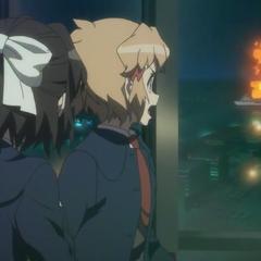 Hibiki and Miku saw an explosion