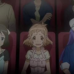 Miku, Hibiki and Tsubasa watching a romance movie