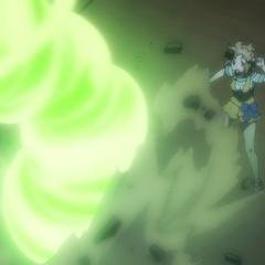 Hibiki dodging Carol's attack