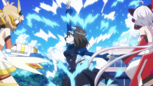 Garie attacking the Symphogear users at the beach