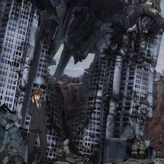 Shinji at destroyed scene