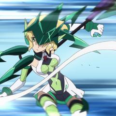 Kirika dodging Cagliostro's attack