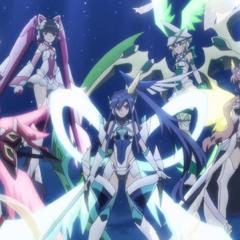 Tsubasa's, Chris', Maria's, Shirabe's and Kirika's X-Drive in XV.