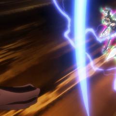 Hibiki using Tsubasa's Blue Flash