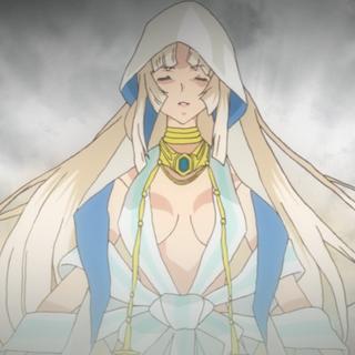 Finé as a priestess.