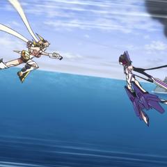 Hibiki against Miku