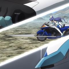 Tsubasa riding her motor