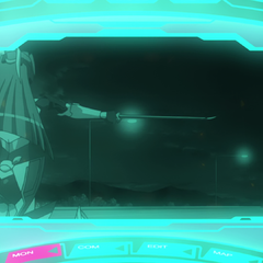 Tsubasa pointing her sword to Hibiki