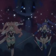 Maria and Tsubasa fights Alca-Noise