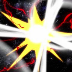 Hibiki, Tsubasa and Chris crushing the meteor