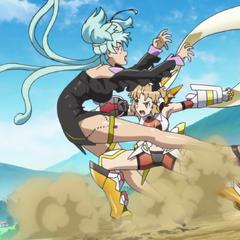 Hibiki attacking Cagliostro