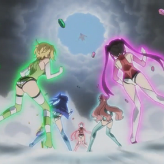 Symphogear user in defenseless state with hexagon shape energy protective shell