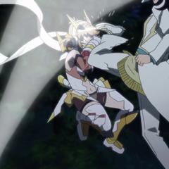 Adam attacking Hibiki