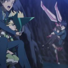 Kirika and Shirabe jumping down with Sakuya and Aoi on their back