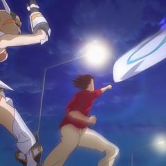 Genjuro protecting Hibiki