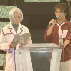 Tomokazu and Hideo MC during Symphogear Live 2013.