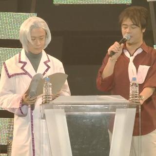 Hideo and Tomokazu MC during Symphogear Live 2013.