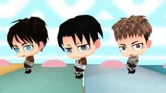 Attack on MMD Chibi Levi Eren Jean 「Happy Trap」Short Ver