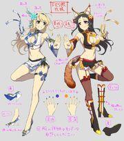 Katsu y Ayame Bocetos1
