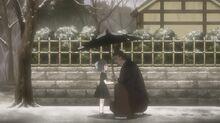 Yumi conoce a su abuelo