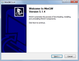 MinGW 5.1.4 setup welcome message