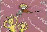 On her violin
