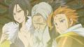 Merlin qui téléporte Baltra et Arthur a Camelot dans l'anime