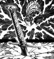 Gilthunder qui enfonce une épée dans la roche