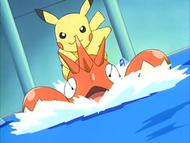 Ash's Corphish and Pikachu