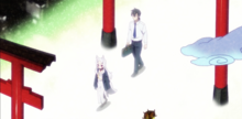 Shiro and Nakano walking through gateway