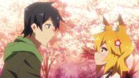 Senko and Nakano under cherry tree